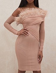 cheap -Sheath / Column Minimalist Sexy Homecoming Cocktail Party Dress Spaghetti Strap Long Sleeve Short / Mini Spandex with Feather Ruched 2021