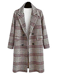 cheap -Womens Lapel Double-Breasted Fall & Winter Plus Size Plaid Mid Long Wool Blend Trench Pea Coat Grey 2XL