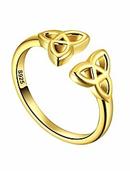 cheap -Women Celtic Kont Trinity Band Ring Silver 18K Gold Plated Triquetra Knot Eternity Band Ring Amulet Wedding Ring FR0005Y