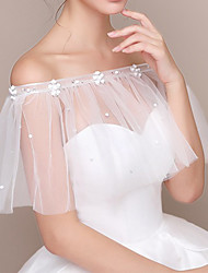 cheap -Sleeveless Shawls / Bridal Chinlon Wedding Shawl & Wrap / Women's Wrap With Pearls / Appliques