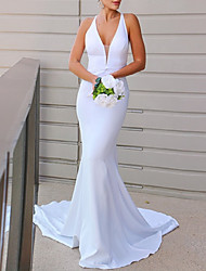 cheap -Mermaid / Trumpet Wedding Dresses V Neck Sweep / Brush Train Italy Satin Sleeveless Country Simple Sexy with 2021