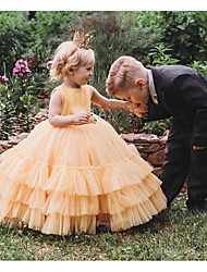 cheap -Princess / Ball Gown Court Train Wedding / Party Flower Girl Dresses - Tulle Sleeveless Jewel Neck with Tier / Solid