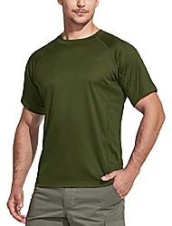 cheap -Women's Men's T shirt Hiking Tee shirt Short Sleeve Tee Tshirt Sweatshirt Top Outdoor Quick Dry Lightweight Breathable Sweat wicking Summer Camo / Camouflage Pure black Green white Black China