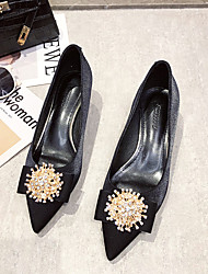 cheap -Women's Wedding Shoes Pumps Pointed Toe Casual Daily Walking Shoes Suede Rhinestone Solid Colored Black Red
