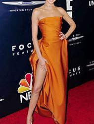 cheap -Sheath / Column Celebrity Style Elegant Prom Formal Evening Dress Strapless Sleeveless Sweep / Brush Train Satin with Split 2021