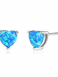 cheap -Opal Earrings for Women Ladies Silver White Heart 6mm Opal Birthstone Stud Earrings Hypoallergenic Small Sleeper Ear Pierced Studs Wedding Engagement Bithday Christmas Jewellery