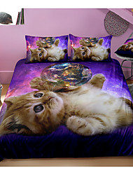 cheap -Cute Cat Print 3-Piece Duvet Cover Set Hotel Bedding Sets Comforter Cover with Soft Lightweight Microfiber, Include 1 Duvet Cover, 2 Pillowcases for Double/Queen/King(1 Pillowcase for Twin/Single)