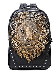 cheap -Men's Bags PU Leather Sling Shoulder Bag Zipper Lion Outdoor Backpack White Black Gold