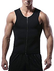 cheap -Mens Neoprene Sweat Waist Trainer Vest with Zipper for Weight Loss, Slimming Gym Vest Compression Hot Sauna Vest Body Shaper Tank Top Workout Shirt (Black, L)