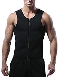 cheap -Mens Neoprene Sweat Waist Trainer Vest with Zipper for Weight Loss, Slimming Gym Vest Compression Hot Sauna Vest Body Shaper Tank Top Workout Shirt (Black, L)