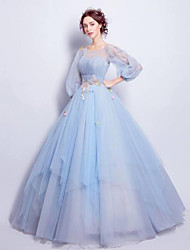 cheap -Ball Gown Elegant Floral Quinceanera Engagement Dress Illusion Neck 3/4 Length Sleeve Floor Length Tulle with Pleats Appliques 2021
