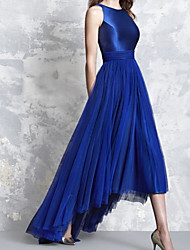 cheap -A-Line Minimalist Elegant Wedding Guest Formal Evening Dress Jewel Neck Sleeveless Asymmetrical Satin Tulle with Pleats 2021