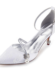cheap -Women's Wedding Shoes High Heel Pointed Toe Wedding Party & Evening Lace Rhinestone Imitation Pearl White Champagne Ivory