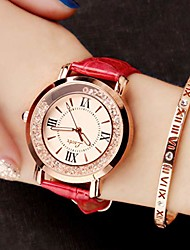 cheap -Ladies Watch Fashion Watch Student Belt Watch Flow Rhinestone Quartz Watches Waterproof Watch Girl's Personality Watch Lazy Watch Gift,Red