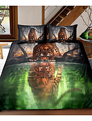 cheap -animal series tiger print 3-piece duvet cover set hotel bedding sets comforter cover with soft lightweight microfiber, include 1 duvet cover, 2 pillowcases for double/queen/king(1 pillowcase for