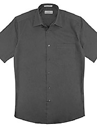 cheap -100% Cotton Men's Short Sleeve Solid Charcoal Grey Dress Shirt