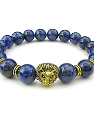 cheap -lapis lazuli mens bracelet, 10mm natural energy gemstone beads bangle, lion charm, blue gold