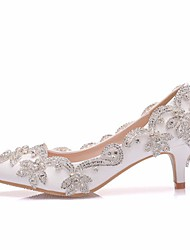 cheap -Women's Wedding Shoes Pumps Pointed Toe Wedding Pumps Business Sexy Minimalism Wedding Party & Evening PU Rhinestone Rivet Sparkling Glitter Solid Colored Color Block White