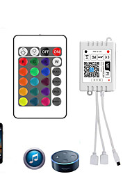 cheap -WiFi Wireless Double head LED Smart Controller Working with Android and IOS System Mobile Phone Free App for RGB LED Light 5V to 28V DC 4A Comes With One 24 Keys Remote Control