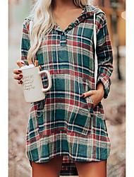 cheap -Women's T Shirt Dress Tee Dress Short Mini Dress Green Long Sleeve Plaid Split Spring Hooded Vintage 2021 S M L XL