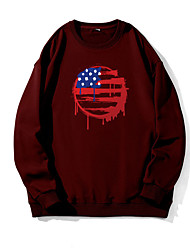 cheap -Men's Pullover Sweatshirt Graphic American US Flag Print Round Neck Daily Weekend Other Prints Casual Hoodies Sweatshirts  Long Sleeve Wine Red Black Khaki