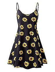 cheap -women summer holiday dress womens dresses ladies sunflower print sleeveless dress casual mini summer dresses sexy women's flared dress sleeveless strappy a-line dress(yellow, s)