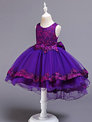 cheap -Kids Little Girls' Dress Jacquard Solid Colored Lace Trims White Blue Purple Asymmetrical Sleeveless Flower Cute Dresses Children's Day Slim