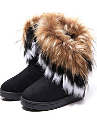 cheap -women winter warm high long snow ankle boots faux fox rabbit fur tassel shoes