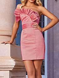 cheap -Sheath / Column Minimalist Sexy Engagement Cocktail Party Dress Strapless Sleeveless Short / Mini Taffeta with Ruched 2021