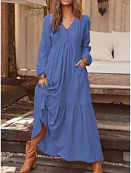 cheap -Women's Swing Dress Maxi long Dress Yellowish brown Light Grey Navy Blue Long Sleeve Solid Color Ruffle Button Spring Summer V Neck Chic & Modern Casual Loose 2021 S M L XL XXL XXXL