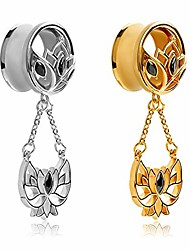 cheap -dangle gauges for ears plugs tunnels lotus flower steel stretchers expander