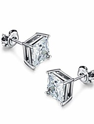 cheap -Princess Cut Square Cubic Zirconia Stud Earrings Silver Stud Earrings 5-8mm Available Fake Diamond Post Earrings Stud for Women Mens Square Diamond Earrings Princess Cut CZ Earrings