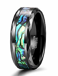 cheap -8mm abalone shell tungsten carbide rings wedding bands faceted edge comfort fit size 11