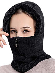 cheap -Ladies Elegant Knitted Balaclava Hat Women's Scarf Hat Set With Zip Neck Ear Warmer Thick Windproof Fleece Padded Hood Cycling Skiing Hat Winter Outdoors, Black