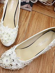 cheap -Women's Wedding Shoes Chunky Heel Round Toe Wedding Pumps Wedding Walking Shoes PU Rhinestone Pearl Floral 5 cm with the same style [standard code] Same style with flat bottom [standard code] 3 cm