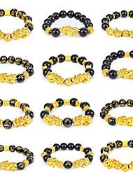 cheap -feng shui 12mm good luck bracelets for women men lucky charm pi xiu feng shui black obsidian wealth bracelet pi yao attract health love money success