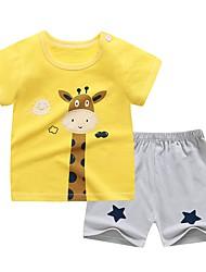 cheap -Kids Boys' Sleepwear T-shirt & Shorts Cartoon Graphic Prints Letter Short Sleeve 2 Piece Print Cotton White Yellow Light Blue Active Basic Casual 2-6 Years