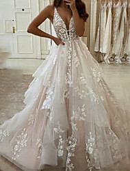 cheap -A-Line Wedding Dresses V Neck Floor Length Lace Tulle Sleeveless Country Romantic Plus Size with Appliques 2021