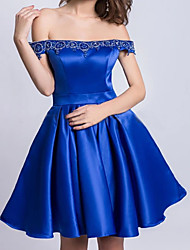 cheap -A-Line Minimalist Sexy Homecoming Cocktail Party Dress Off Shoulder Sleeveless Short / Mini Satin with Pleats 2021