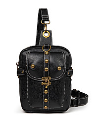 cheap -Unisex Bags PU Leather Sling Shoulder Bag Beading Zipper Embellished&Embroidered Plain 2021 Daily Outdoor Black