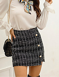 cheap -Women's Stylish Streetwear Going out Work Board Shorts Pants Plaid Checkered Lattice Short Layered Patchwork Black