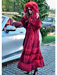 cheap -Women's Faux Fur Coat Long Solid Colored Going out Red S M L XL