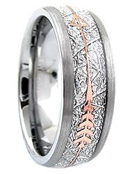 cheap -stunning 6mm/8mm silver tungsten wedding band w/imitation meteorite & rose gold arrow. (tungsten (6mm), 5)