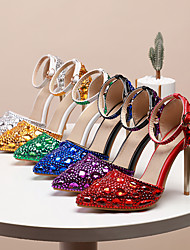 cheap -Women's Wedding Shoes Stiletto Heel Pointed Toe Wedding Pumps Vintage Sexy Minimalism Wedding Party & Evening PU Rhinestone Crystal Sparkling Glitter Solid Colored Color Block Purple Red Blue