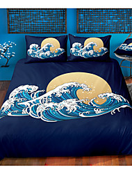 cheap -ukiyo series wave print 3-piece duvet cover set hotel bedding sets comforter cover with soft lightweight microfiber, include 1 duvet cover, 2 pillowcases for double/queen/king(1 pillowcase for