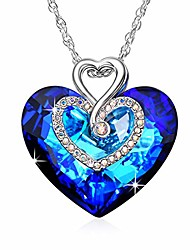 cheap -austrian blue crystal i love you forever double heart princess pendant necklace 14k white gold plated chain necklace for women girls silver romantic jewelry gift 18''