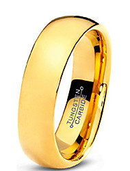 cheap -Tungsten Wedding Band Ring 5mm for Men Women Comfort Fit 18K Yellow Gold Plated Domed Polished Lifetime Guarantee Size O 1/2