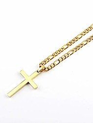 cheap -Stainless Steel Cross Pendant Necklace for Men Women 3:1 Figaro Chain -Gold 4/5/6 mm Width(with Gift Box) (4)