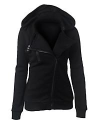 cheap -womens casual warm oblique full zip up hoodie sweatshirt jacket (l, black)