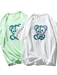 cheap -Men's T shirt Other Prints Graphic Prints Graffiti Print Short Sleeve Daily Tops 100% Cotton Casual Beach White Green
